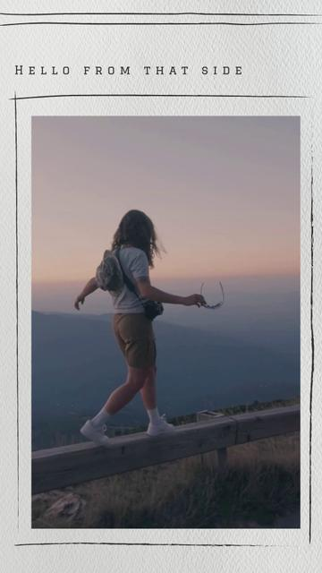 Travel Inspiration with Young Woman on Mountains Landscape TikTok Video – шаблон для дизайну