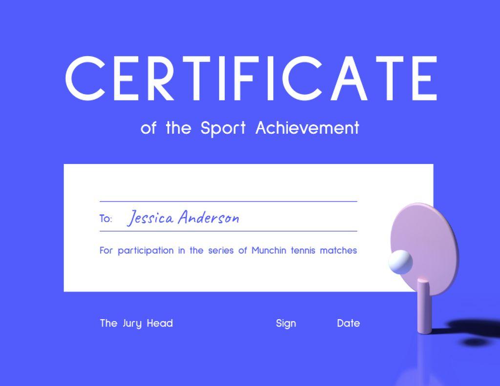 Sport Achievement Award with Table Tennis Racket Certificate – шаблон для дизайну