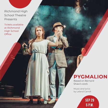 Designvorlage Theater Invitation Actors in Pygmalion Performance für Instagram AD