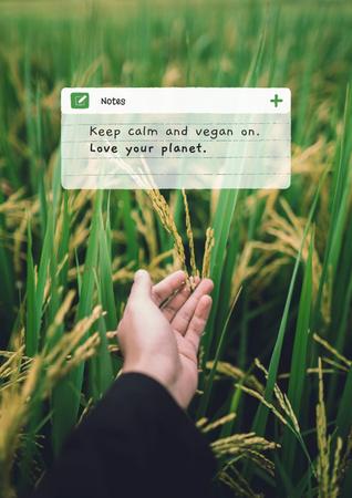 Modèle de visuel Vegan Lifestyle Concept with Green Summer Field - Poster
