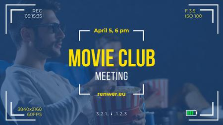 Modèle de visuel Movie Club Invitation People Watching Cinema in 3d - FB event cover