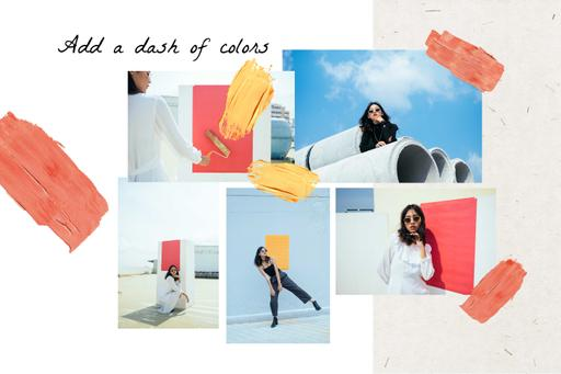 Woman In Stylish Clothes With Color Splashes MoodBoard
