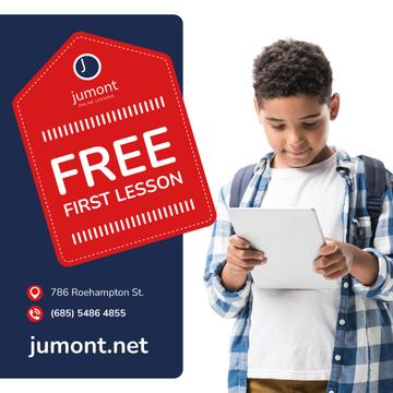 Education Courses Ad Boy Holding Notepad