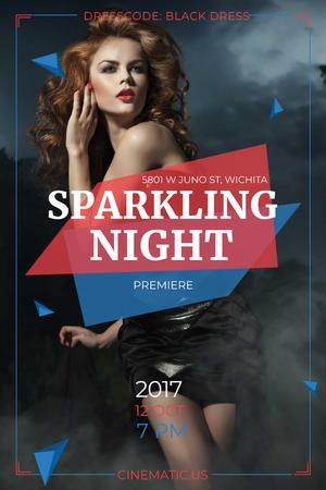 Night Party Invitation with Woman in Glamorous Outfit Pinterest Tasarım Şablonu