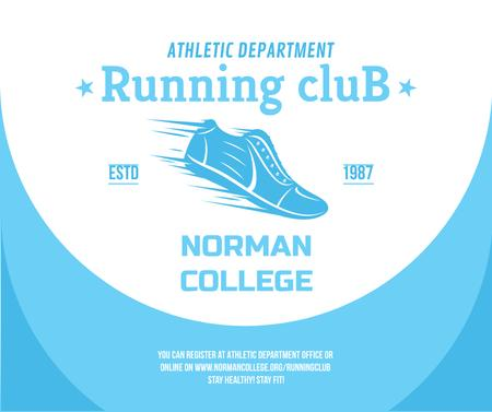 Running club ad with Shoe in blue Facebook Modelo de Design