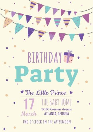 Birthday party Bright Invitation Poster – шаблон для дизайна