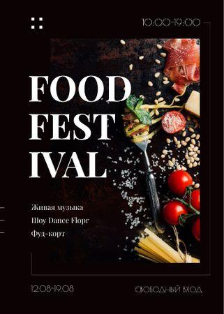 Delicious Italian pasta at Food Festival Invitation – шаблон для дизайна
