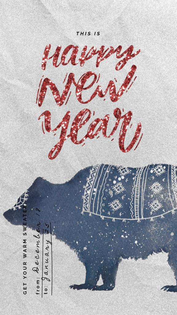 New Year greeting with Bear in Sweater — Create a Design