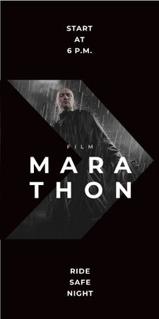 Film Marathon Ad Man with Gun under Rain Graphic Design Template