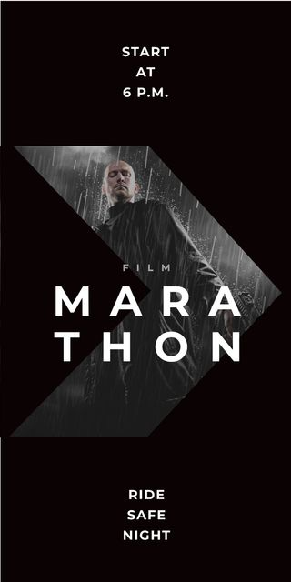 Film Marathon Ad Man with Gun under Rain Graphic Modelo de Design