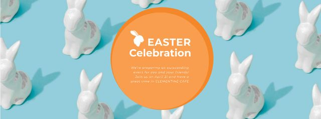 Easter Greeting Bunny Figures in blue Facebook Video cover – шаблон для дизайна