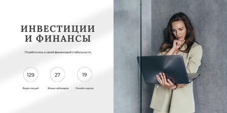 Finance and investments concept with Businesswoman Twitter – шаблон для дизайна