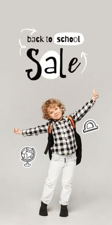 Back to School Sale Offer with Cute Pupil Boy Graphic – шаблон для дизайна