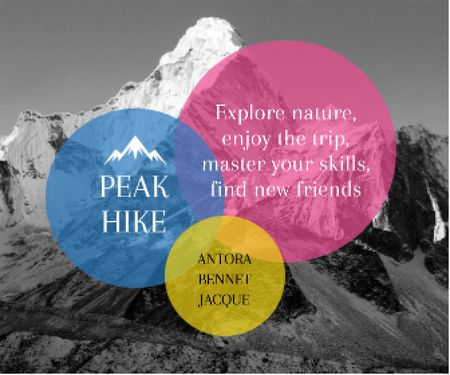 Template di design Hike Trip Announcement Scenic Mountains Peaks Large Rectangle