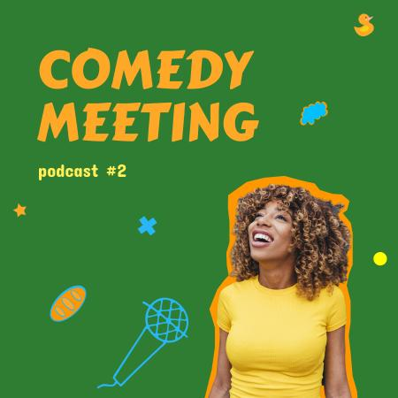 Comedy Podcast Announcement with Smiling Woman Podcast Cover – шаблон для дизайна