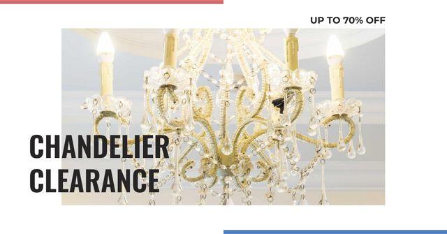 Ontwerpsjabloon van Facebook AD van Elegant crystal Chandelier offer