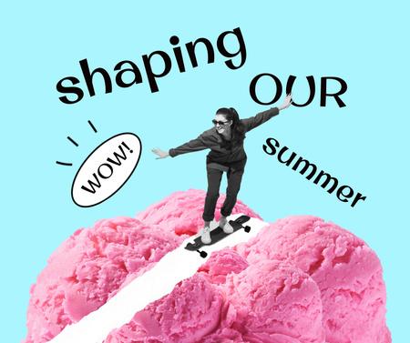 Plantilla de diseño de Girl riding Skateboard on Ice Cream Facebook
