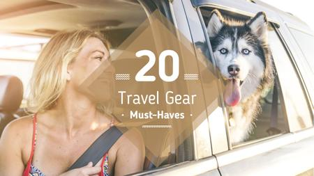 Travelling with Pet Woman and Dog in Car Youtube Thumbnail Modelo de Design