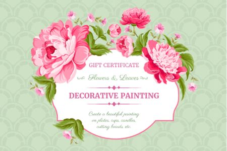 Decorative painting workshop gift certificate Gift Certificate Modelo de Design