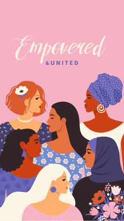 Girl Power Inspiration with Diverse Women Instagram Story – шаблон для дизайна