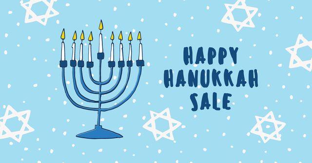 Hanukkah Sale Ad with Menorah Facebook AD Modelo de Design