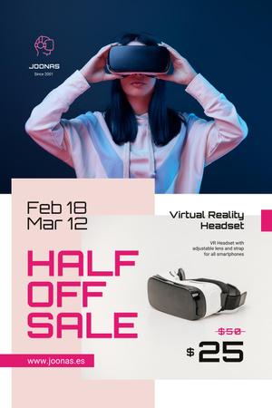 Plantilla de diseño de Gadgets Sale with Woman using VR Glasses Pinterest