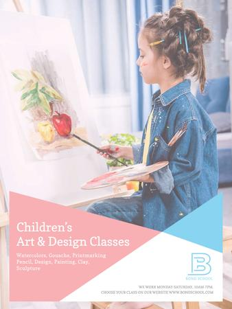 Designvorlage Art Classes Ad Child Painting by Easel für Poster US