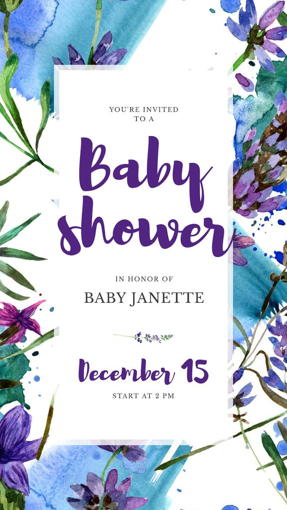 Baby Shower Invitation Watercolor Flowers in Blue — Modelo de projeto