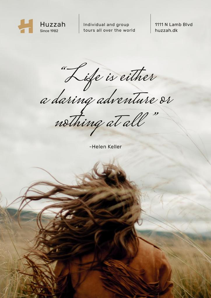 Travel Quote Woman with Waving Hair in Field — Crear un diseño