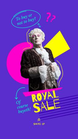 Designvorlage Sale Announcement with Man in Funny Royal Costume für Instagram Video Story