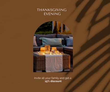 Ontwerpsjabloon van Facebook van Thanksgiving Holiday Celebration with Cozy Festive Table