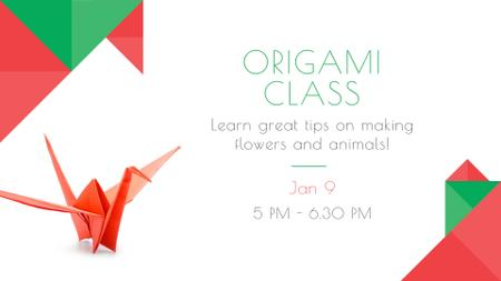 Origami Courses Announcement with Paper Animal FB event cover – шаблон для дизайну
