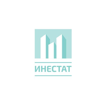 Real Estate Agency Ad with Skyscrapers Icon in Blue Logo – шаблон для дизайна