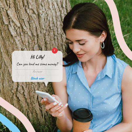 Plantilla de diseño de Funny Joke with Woman using Smartphone Instagram