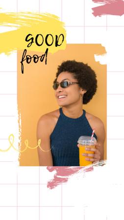 Smiling Woman with Orange Juice Instagram Story – шаблон для дизайну