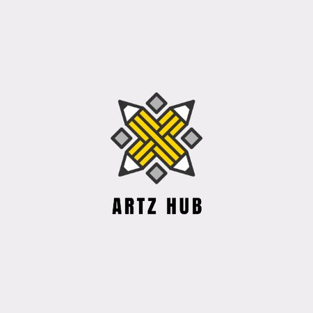 Arts Hub Ad with Crossed Pencils in Yellow Animated Logo Tasarım Şablonu
