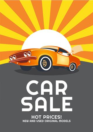 Car Sale Advertisement with Car in orange Poster Modelo de Design