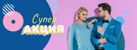 Couple in stylish outfits Facebook cover – шаблон для дизайна
