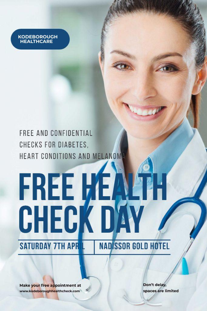 Plantilla de diseño de Free health check offer with smiling Doctor Tumblr