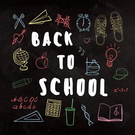 Back to school with Bright education and sciences icons Instagramデザインテンプレート