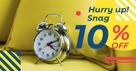 Discount Offer with Alarm Clock Facebook AD – шаблон для дизайну