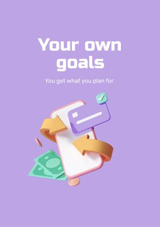 Business Goals with Money and Phone Poster Design Template