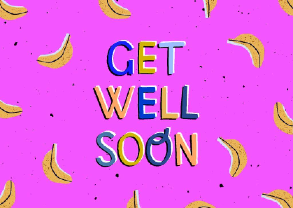 Get Well Wish with Cute Bananas Card Šablona návrhu