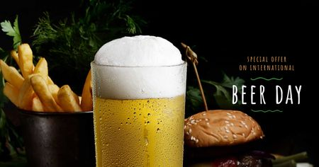 Beer Day Offer with Glass and Snacks Facebook AD Modelo de Design