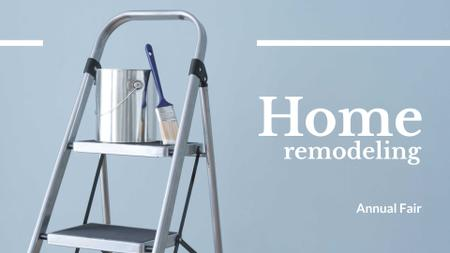 Home Remodeling Ad with Brush and Paint FB event coverデザインテンプレート