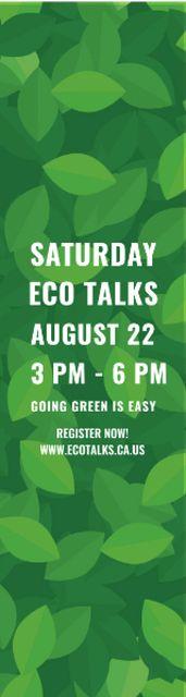Ecological Event Announcement Green Leaves Texture Skyscraper – шаблон для дизайна