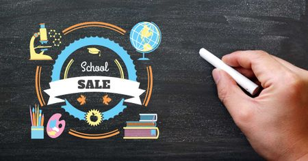 Back to School Sale with Stationery Icons Facebook AD Modelo de Design