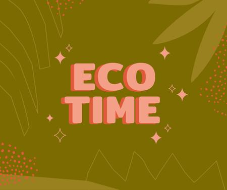 Eco concept with Green Leaves illustration Facebookデザインテンプレート