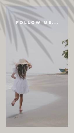 Szablon projektu Young Happy Woman running on Tropical Beach TikTok Video