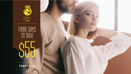 Fashion Ad Couple in Light Clothes FB event cover Modelo de Design